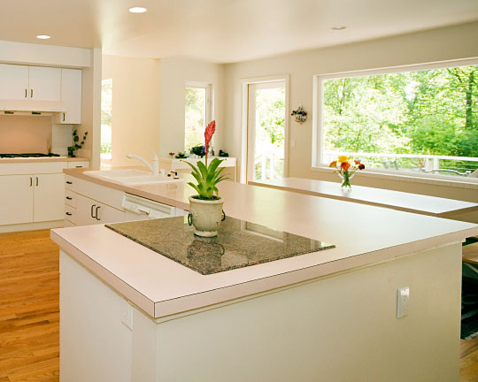 laminate countertop on white cabinets